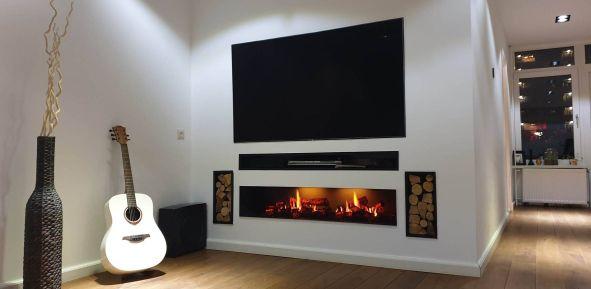 Elektrische haard Opti-v Double met TV-nis