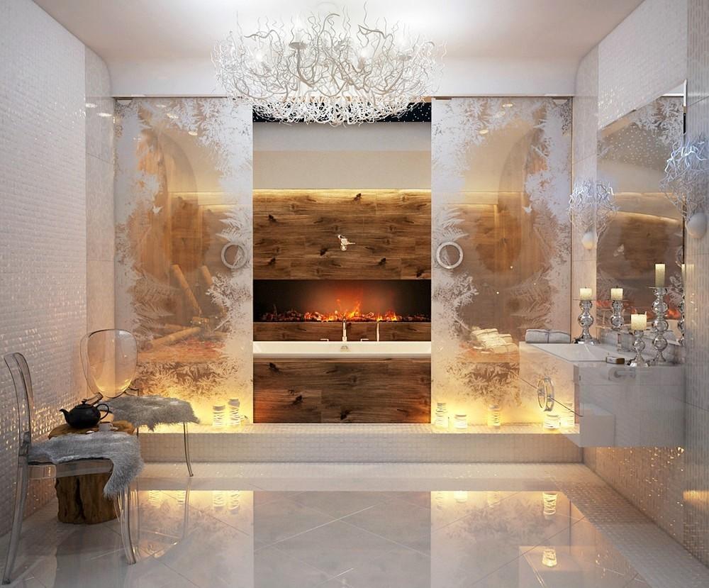 Haard in de badkamer