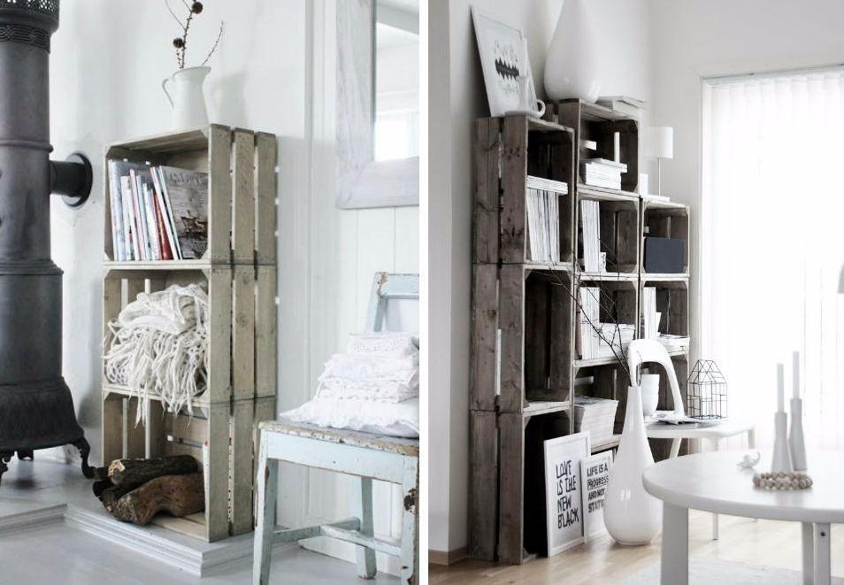 Decoratieve meubels ontwerpen met oude fruitkistjes