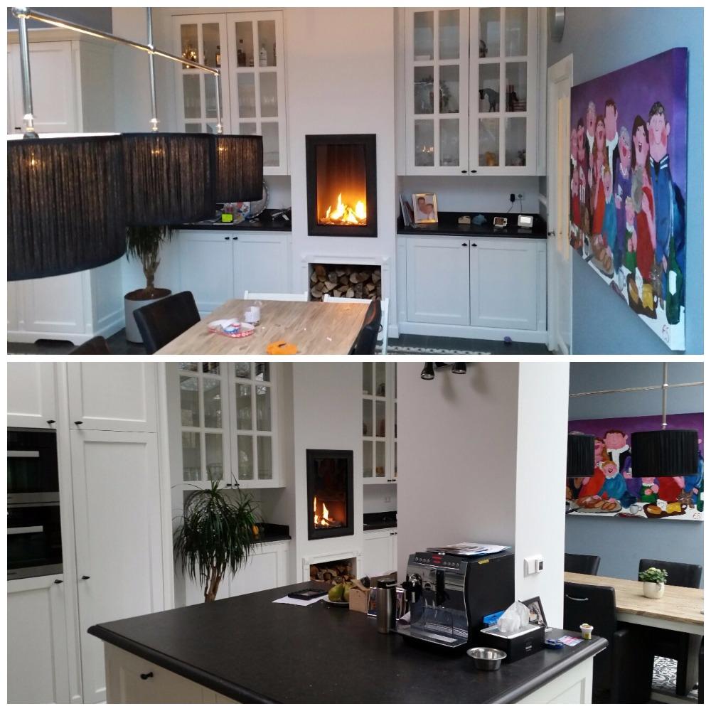 Haard in de keuken - Open keuken op verblijf ...